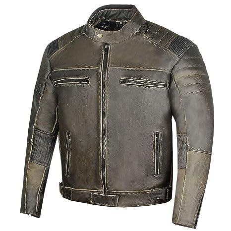Amazon.com: GLORY Chaqueta de motociclista de piel negra ...