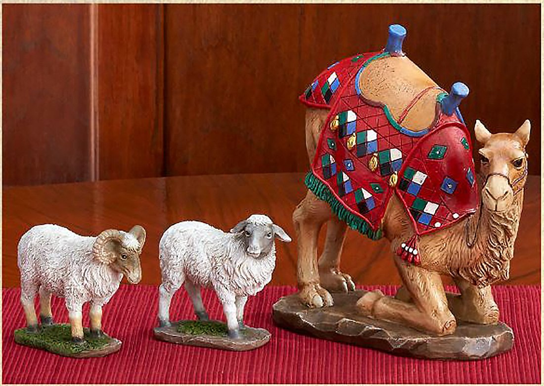 Three Kings Gifts Kneeling Camel and Two Awassi Sheep - For 10 Inch Real Life Nativity