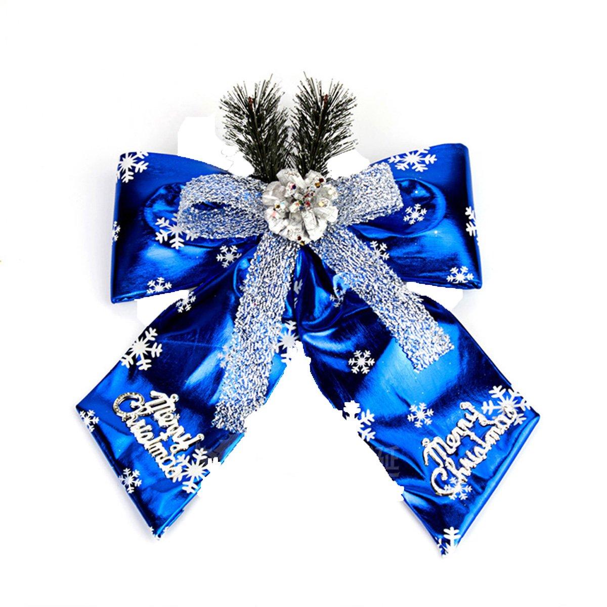 Christmas Bow Large Christmas Bow Christmas Decoration Pentagram Snowflake Bow (L(15.75''19.69''), Blue)