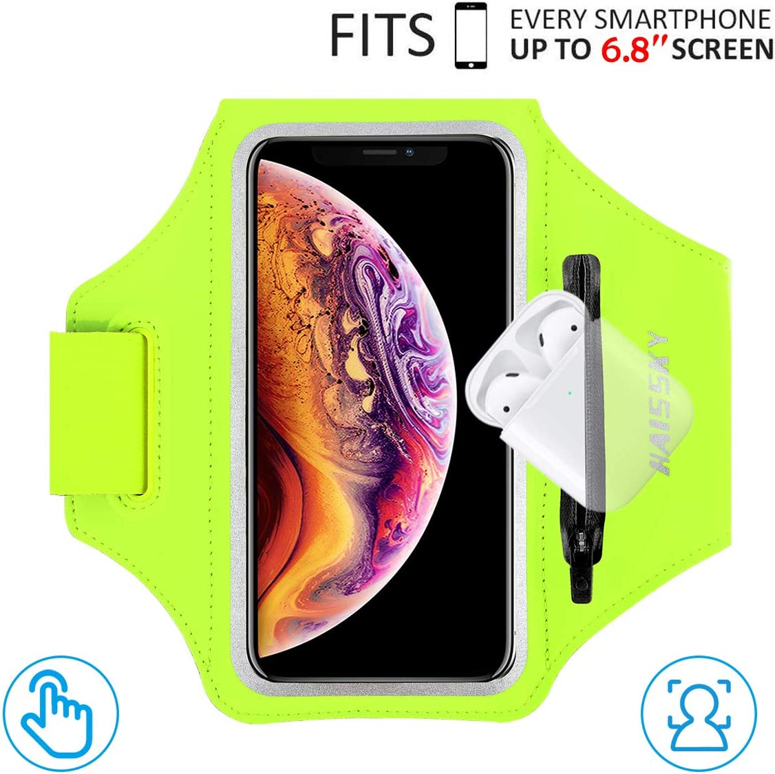 """HAISSKY Armband Case with Airpods Holder/Car Key Bag Cell Phone Holder Gym Case Fits iPhone 11 Pro Max/11 Pro/Xs Max/XR 8 7 6,Galaxy S10+/S10/S10e/S9+ with Key Holder&Card Slot up to 6.8"""" (Green)"""