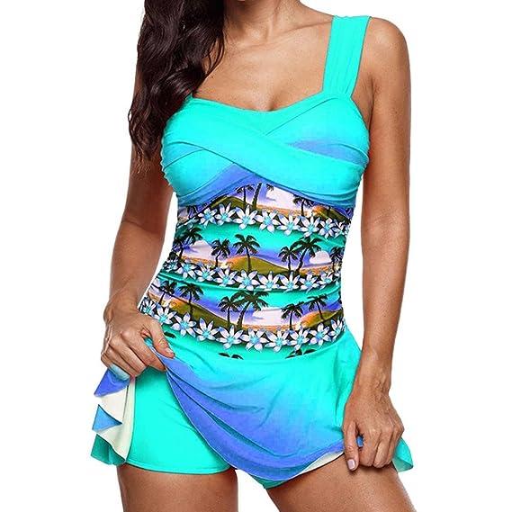 Yvelands Moda para Mujer Swimdress Beachwear Traje de baño Dividido impresión de Cintura Alta Traje de