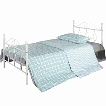 Aingoo Metal Single Bed With Vintage Headboard And Footboard 3ft Bed