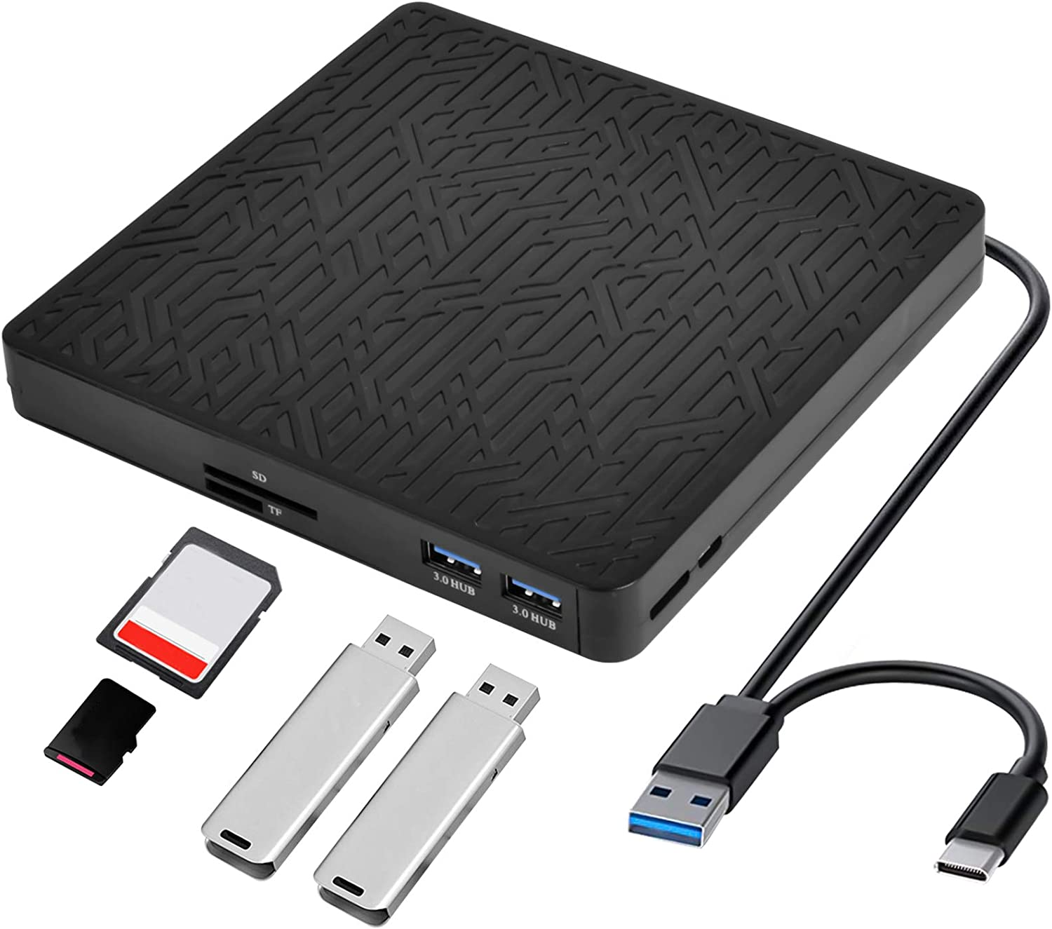External DVD Drive, USB3.0/Type-C DVD CD ROM +/-RW Player for Laptop, Optical Disk Burner with 2 USB3.0 Port, SD/TF Port, Micro USB Type C Cord for PC Desktop Mac Book Windows 10/8/7 Linux OS