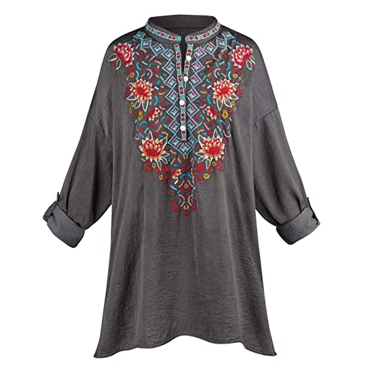 CATALOG CLASSICS Women s Aztec Embroidered Tunic Top - Henley-Style Button  Shirt - 1X