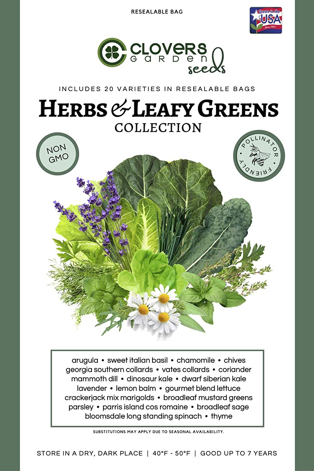 Clovers Garden Herbs & Leafy Greens Vegetable Seed Kit – 20 Varieties, 100% Non GMO Open Pollinated Heirloom Herb, Lettuce, Cilantro Seed Vault for Planting – USA Grown – for Home or Survival Garden