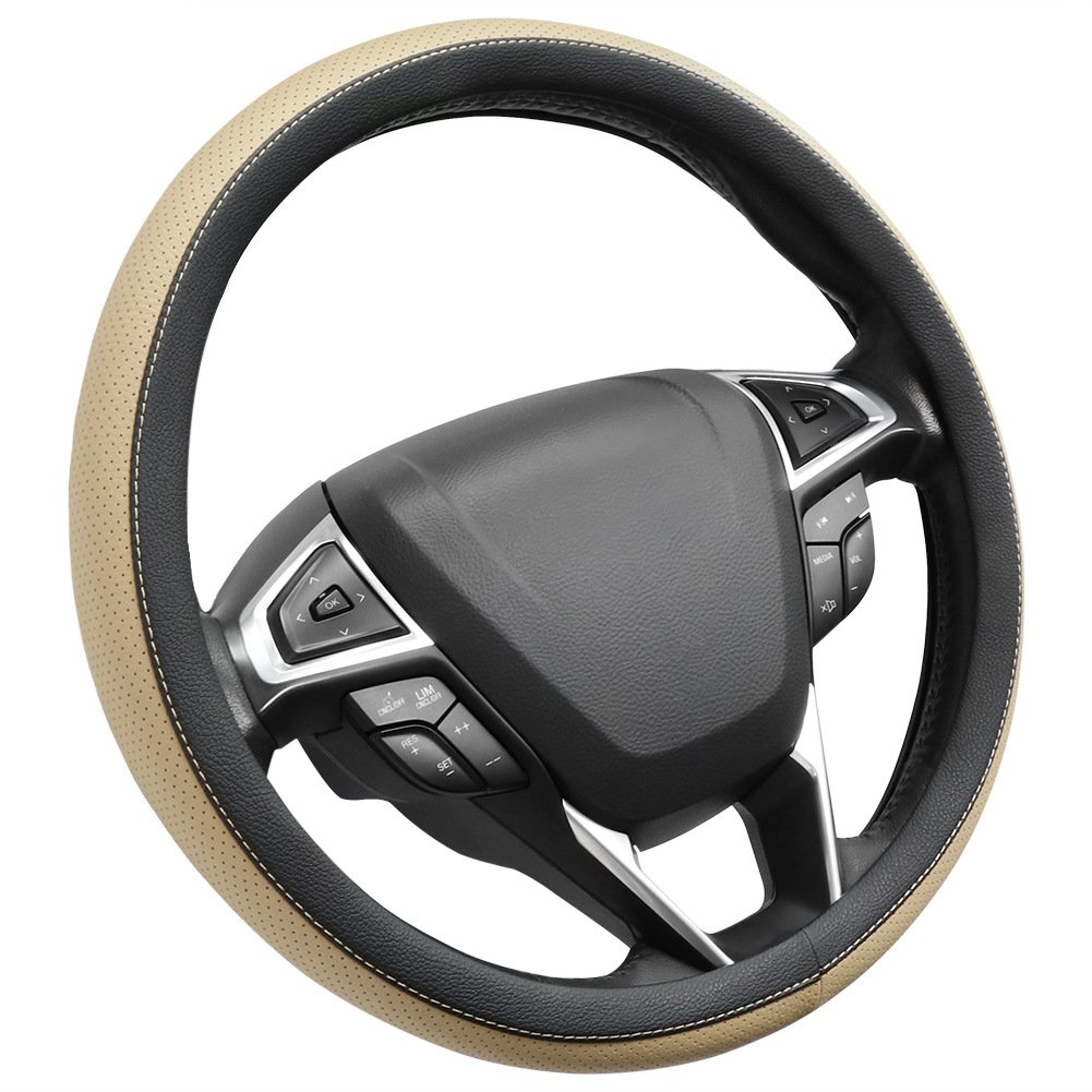 SEG Direct Microfiber Leather Black Steering Wheel Cover Universally Fits 15 inches
