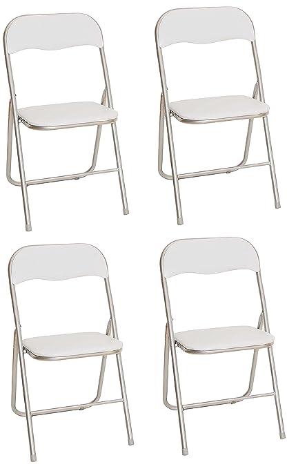 La Silla Española Sevilla - Silla plegable en aluminio con asiento y respaldo alcochados en PVC, Blanco, 78x43,5x46 cm