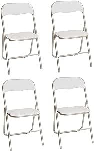 La Silla Española - Pack 4 Sillas plegables fabricadas en aluminio con asiento y respaldo acolchados en PVC, modelo Sevilla. Color blanco. Medidas 78x43,5x46 cm: Amazon.es: Hogar