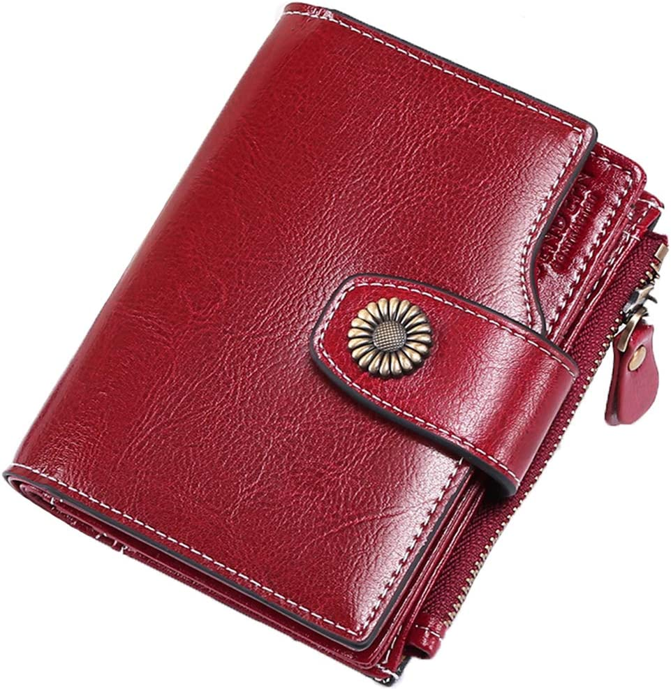 FALAN MULE RFID Blocking Short Wallet Women Small Wallet Genuine Leather Clutch Wallet with ID Window and Side Zipped Coin Pouch (Winered)