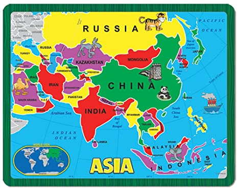 Complete Map Of Asia.Amazon Com Continent Puzzle Asia 26 Piece Toys Games