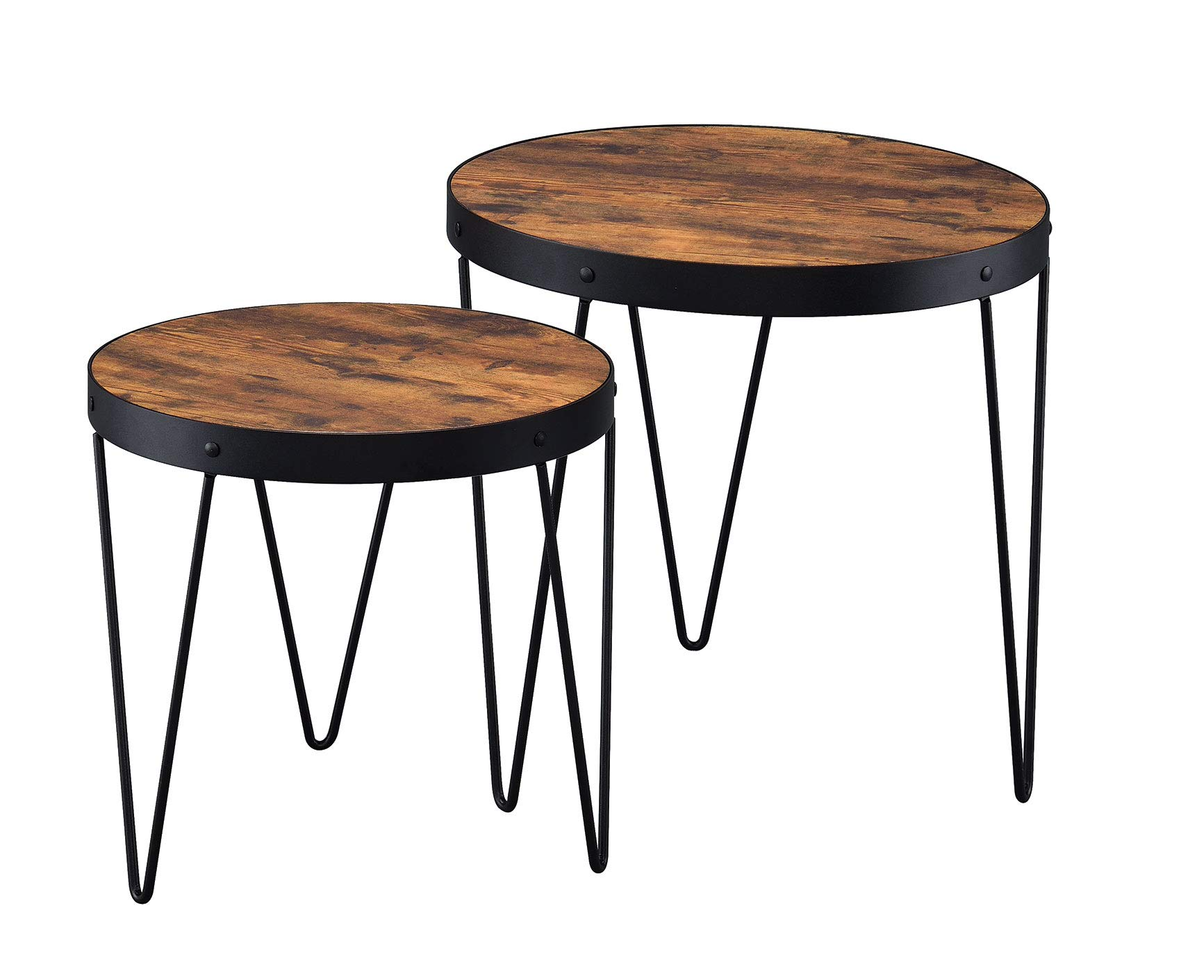Coaster Home Furnishings 2-piece Nesting Table Set with Hairpin Legs Honey Cherry and Black by Coaster Home Furnishings