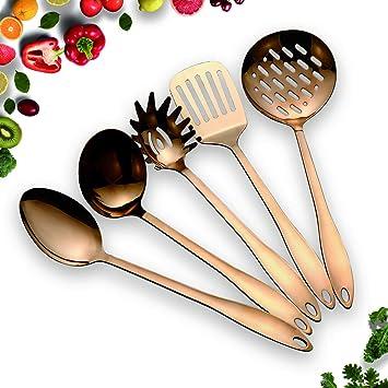 HOMQUEN Juego de utensilios de cocina de acero inoxidable - Utensilios de cocina de cobre 5, Juego de utensilios de cocina antiadherente