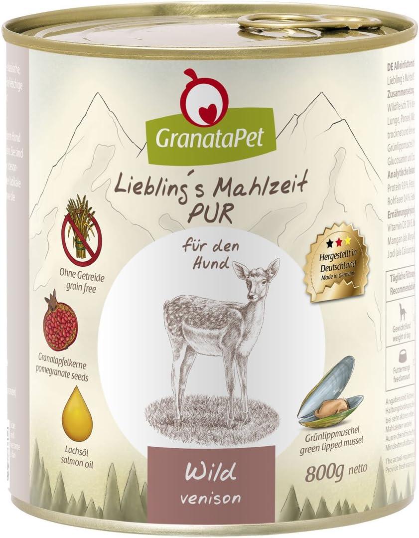 GranataPet Comida húmeda para Perros, de Liebling's Essence, para Perros, sin Cereales ni aditivos de azúcar, alimento Completo con Alto Porcentaje de Carne y aceites, 6 x 800 g
