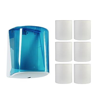 1 Rollo Dispensador de toallas Jofel Azur Midi Caja azul + 6 toallas de mano de