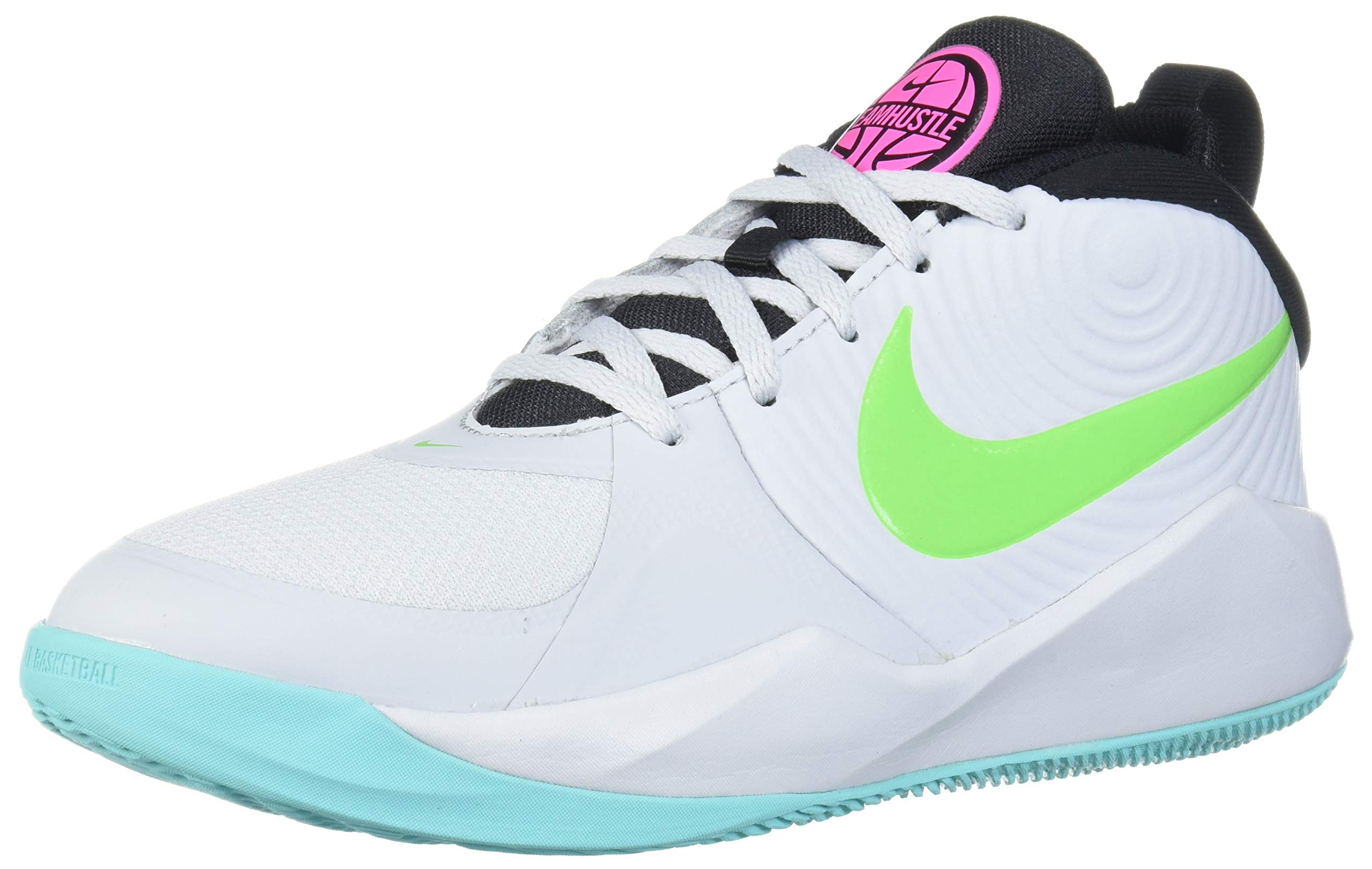 Nike Unisex Team Hustle D 9 Grade School Basketball Shoe, Pure Platinum/Electric Green, 3.5Y Regular US Big Kid by Nike