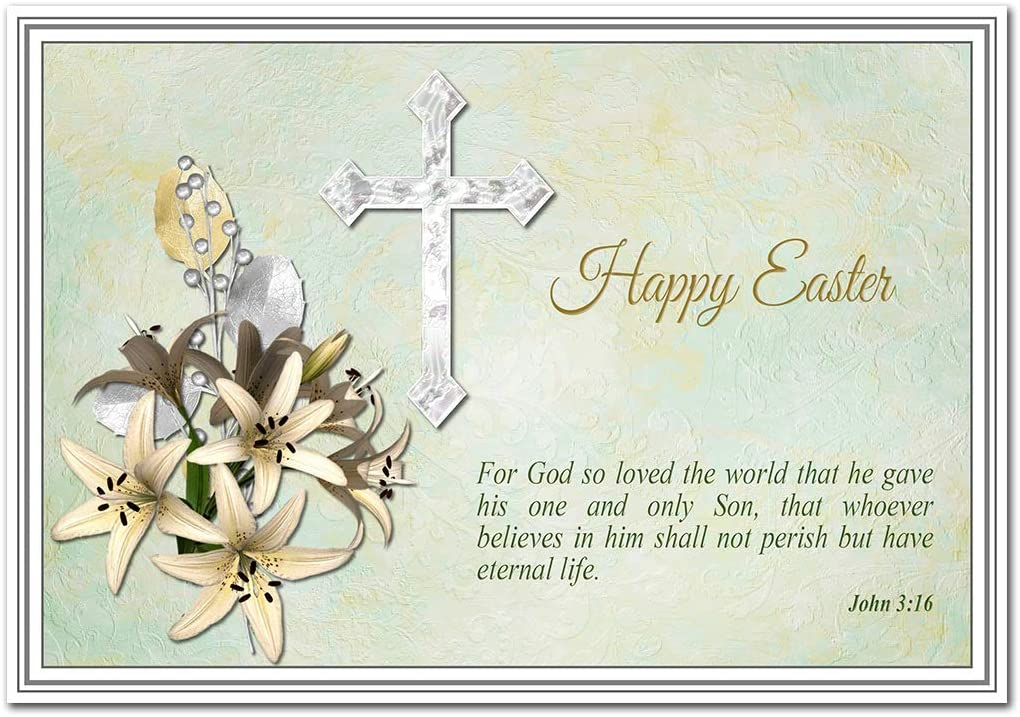 Religious Easter Cards - Christian Happy Easter Card – Friends Family -  Good Wishes Greeting - Resurrection of Jesus - Blessings of Spring -  Special Holy Cross with Bible Verse Theme: Amazon.co.uk: Office Products