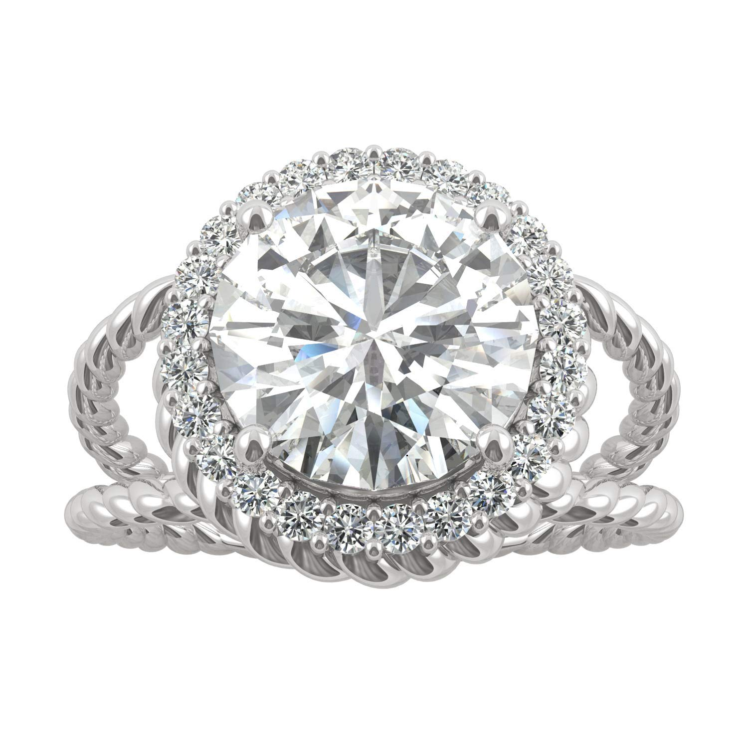 14K White Gold Forever Brilliant 9mm Round Halo Split Shank Engagement Ring- size 8, 2.94cttw DEW by Charles & Colvard