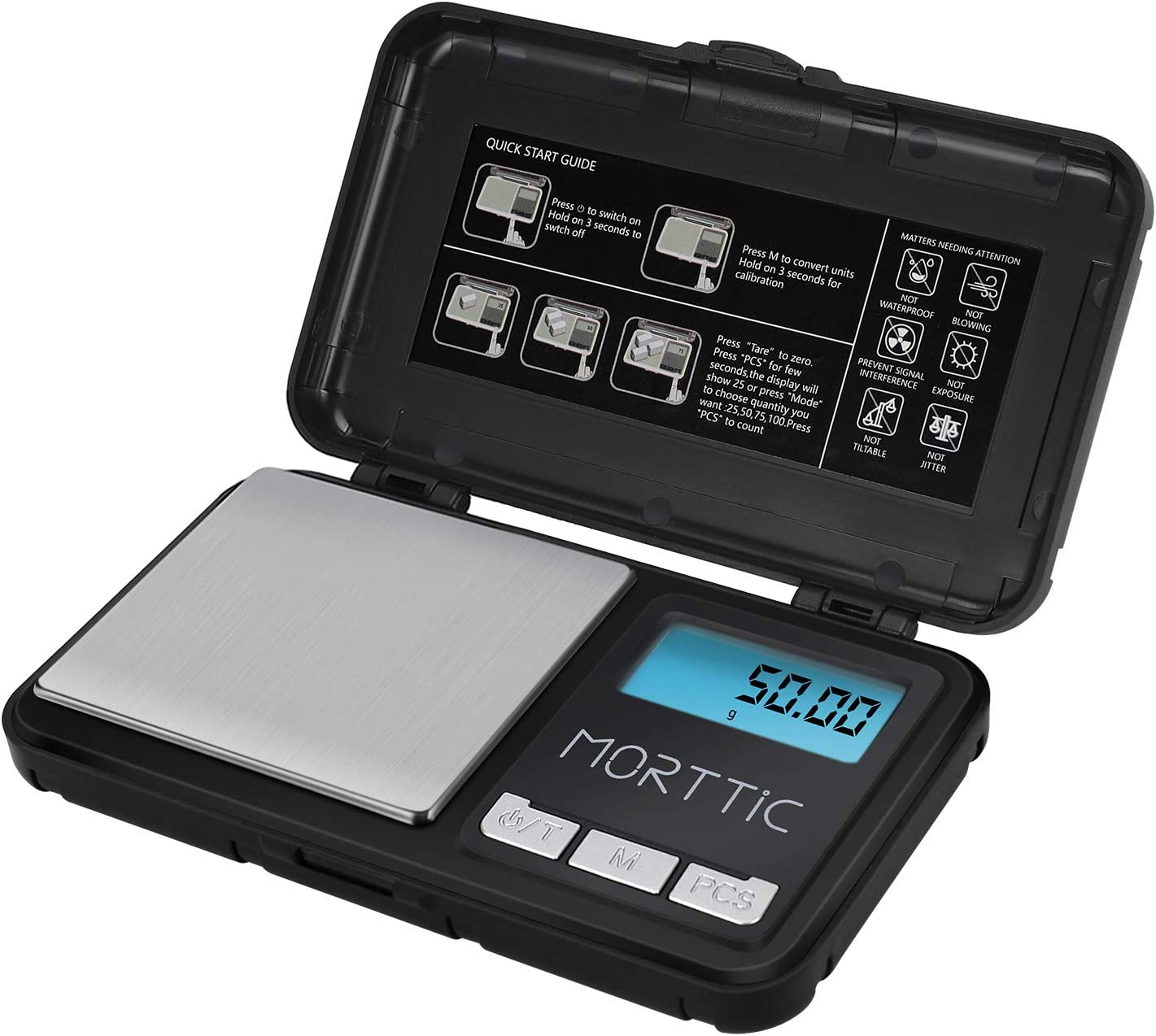 Morttic Weigh Gram Scale 200g/ 0.01g, Digital Pocket Scale, Food Scale, Mini Jewelry Scale, Kitchen Scale, 9 Units Conversion, Tare & LCD Backlit Display, Auto Off Function