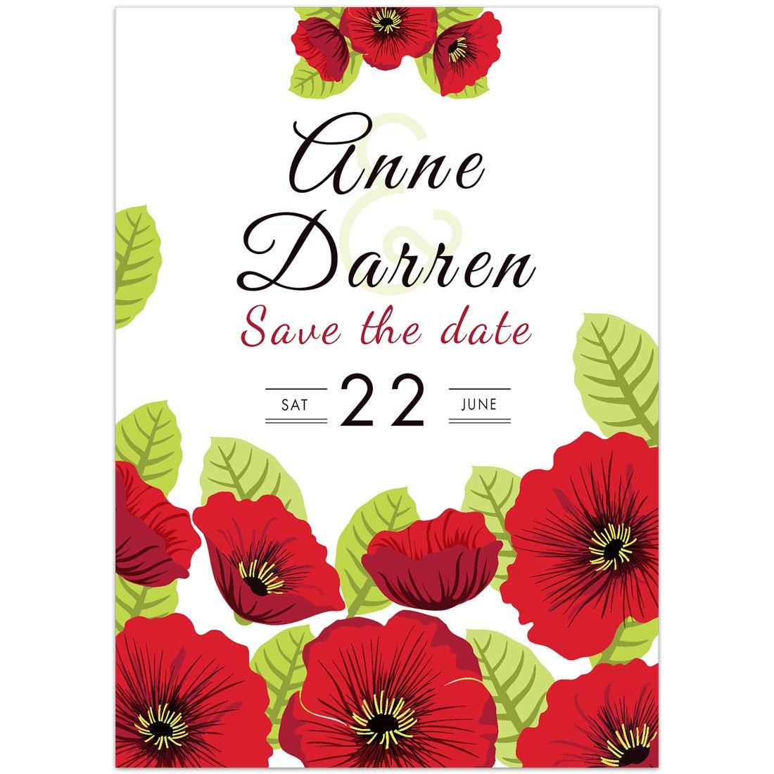 Amazon.com: Red Flowers Save the Date Card Wedding Invitation: Handmade