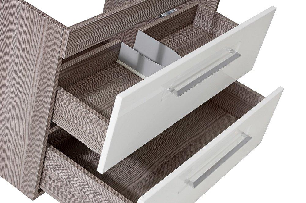 Cosmo 2 Badmöbel Set / Komplettbad 6 Teilig In Weiß Hochglanz / Avola  Dekor, Waschtisch 60 Cm, LED Beleuchtung: Amazon.de: Küche U0026 Haushalt