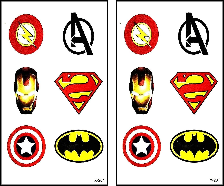 Mini Tattoos 2 Sheets Superheroes Icon Cartoon Tattoos Waterproof Temporary Cute Stickers Tattoo Fashion Fantasy Fun Party Stickers Tattoo Make up Body for Men Women Kids Children's (07)