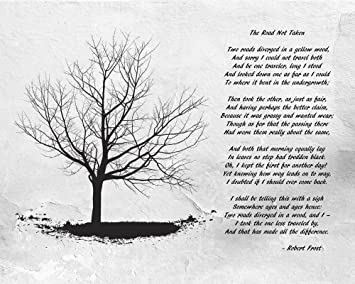 Amazon.com: Robert Frost The Road Not Taken Art Print, 20 x 16 ...