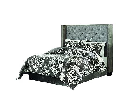 Perfect Lenox C1512050 SCQ AST Velvet Plush Comforter Set Damask F/Q,Grey