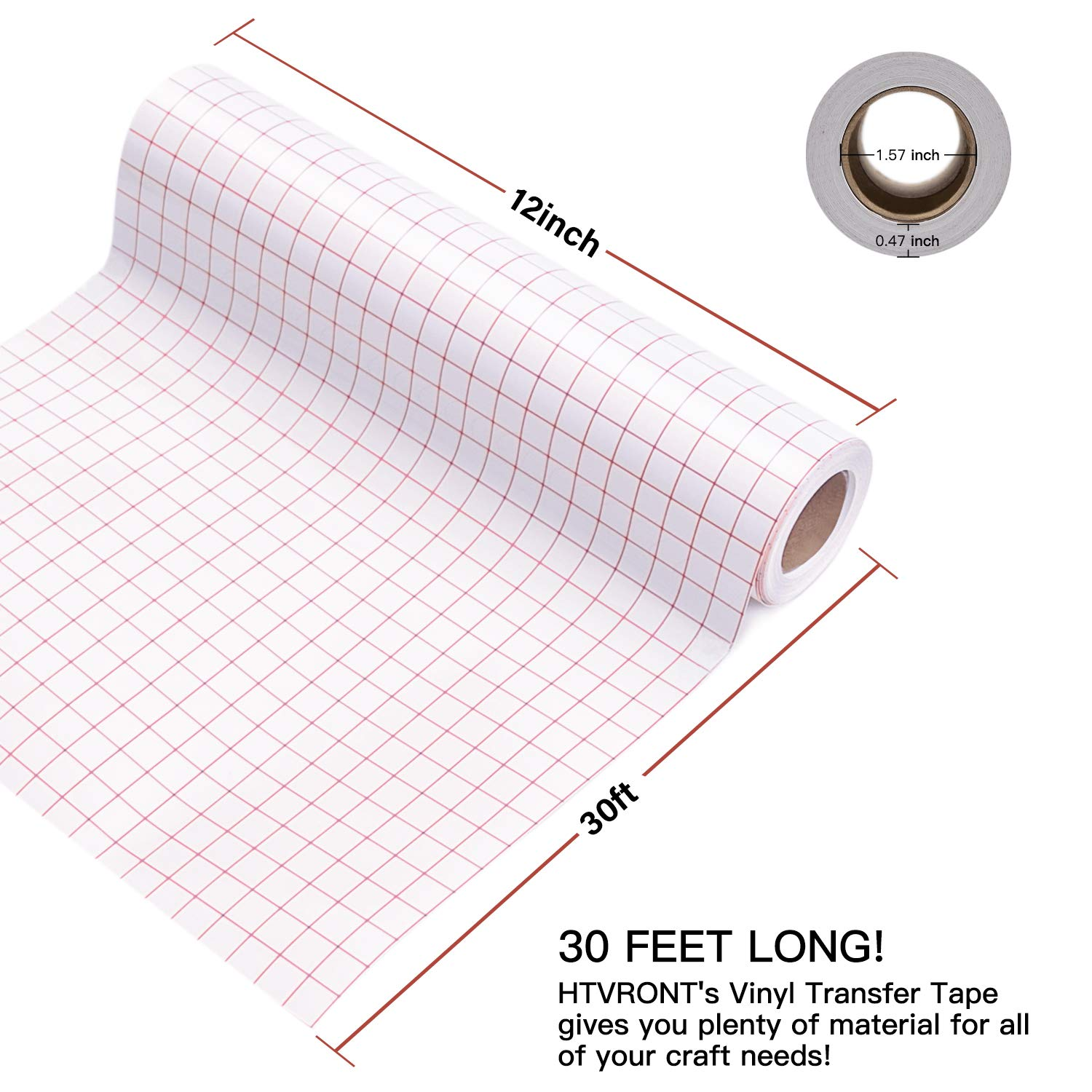 Transfer Tape for Vinyl 12 x 30 Feet Clear w//Red Alignment Grid Medium Tack Vinyl Transfer Tape Perfect for Cricut Cameo Self Adhesive Vinyl for Signs Stickers Decals Walls Doors /& Windows