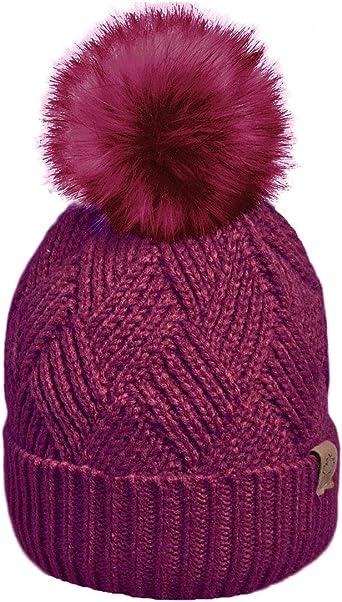 Rockjock Unisex Marl Chunky Knitted Ski Bobble Winter Hat with Large Pom Pom
