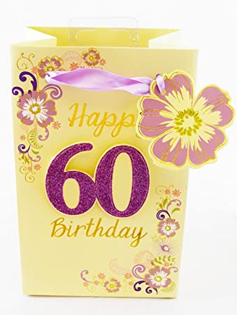 Happy 60th Birthday Gift Bag Small Flower Glitter Luxury Ladies Age Present