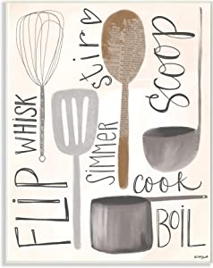 Stupell Industries Flip Whisk Simmer and Stir Kitchen Spoons and Utensils Wall Plaque, 10 x 15, Multi-Color