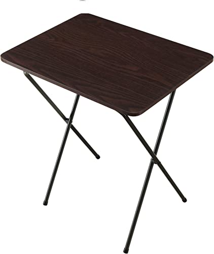 RealOne Wood Folding TV Tray Table Multi-Purpose Sturdy Durable Bedside Laptop Snack Folding Table – Walnut Color