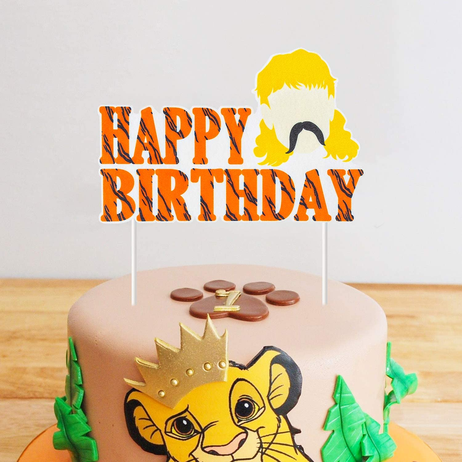 ANGOLIO Tiger King Happy Birthday Cake Toppers Themed Birthday Party Favor Cupcakes Topper The King Cake Decoration Baby Shower Tiger Party Supplies Cakes Deserts Fruits Accessories Photo booth