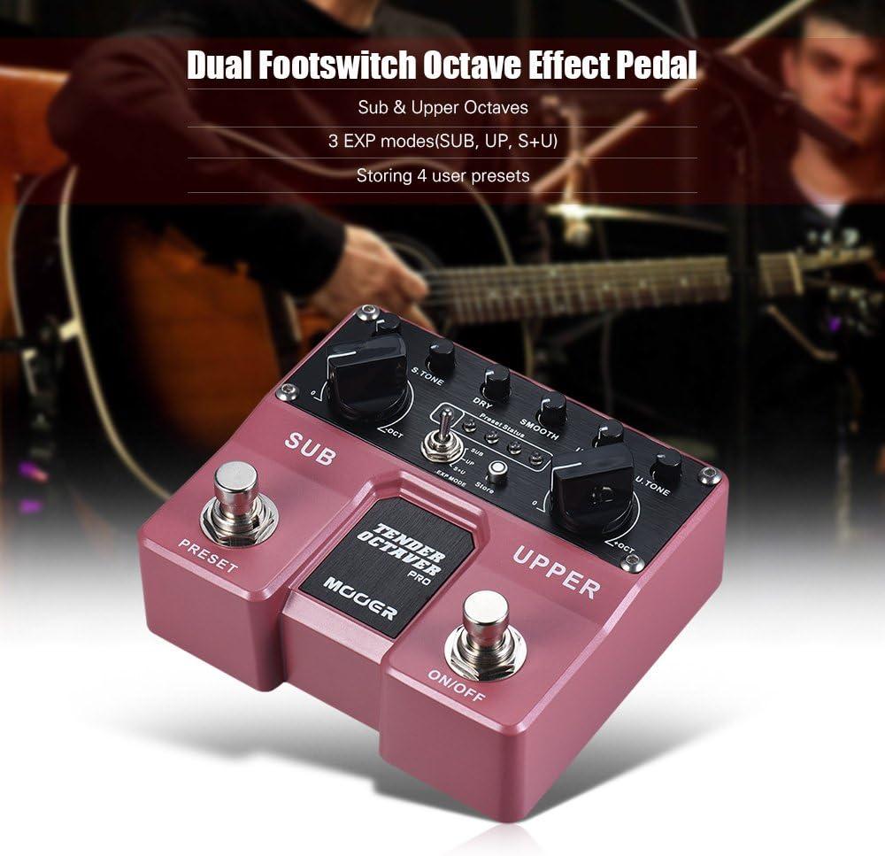 Fesjoy TENDER OCTAVER Pedal de efectos de guitarra Pro Octave Sub y Upper Octaves 4 presets de usuario con conmutadores de pedal duales