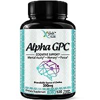 Alpha GPC Choline Supplement 300mg, 120 Veggie Capsules, Cognitive Enhancer Nootropic...