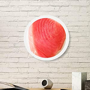 Salmon Sashimi Meat Food Texture Round White Wall Picture Frame Wooden Home Decor