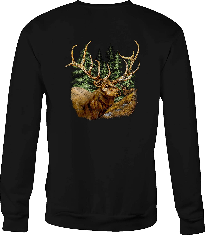 Motorcycle Crewneck Sweatshirt Elk in The Woods with Giant Antlers