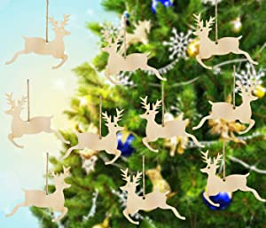 WildWave 10Pcs Wooden Ornament Xmas Tree Gift Hanging Cutouts Tags Pendant Decor for Christmas Decorations - Animal Cutouts Tag Xmas Tree Hanging Decor