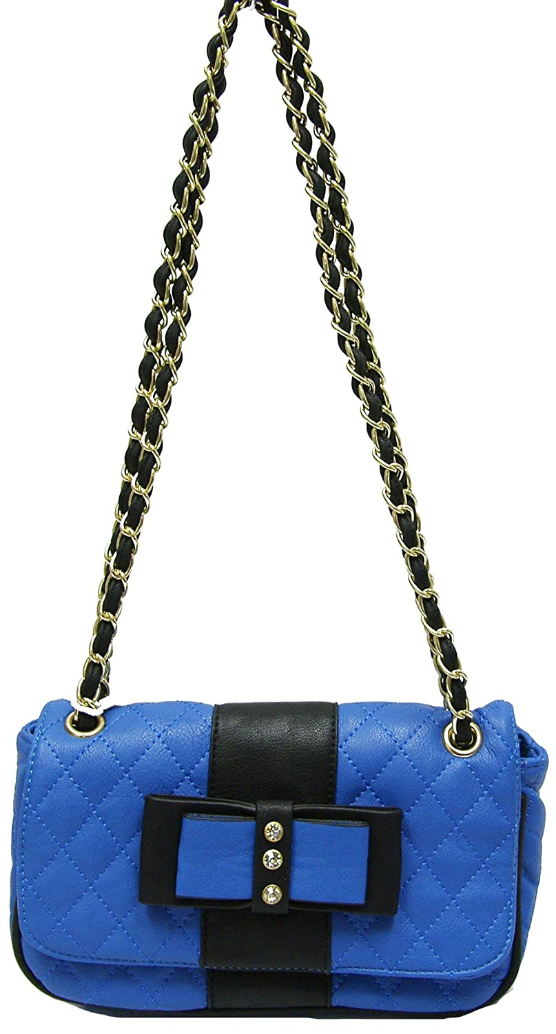 Hearty Trendy Quilted Blue Faux Leather Small Evening Purse Shoulder Bag Crystal on Bow