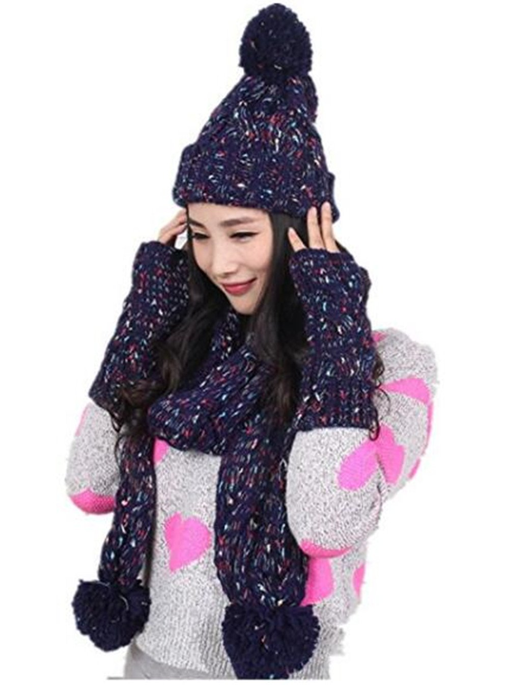 Xugq66 Winter Warm Girl Wool Hat/Scarf/Gloves Set Women Knitted Hat/Scarf/Mitten 3pcs (Beige)