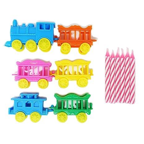 Vintage Animal tren vela soporte conjunto w/rosa velas