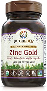 Organic Zinc Supplement - Zinc Gold 15 mg, 60 Veggie Capsules, Whole Food, Non-GMO