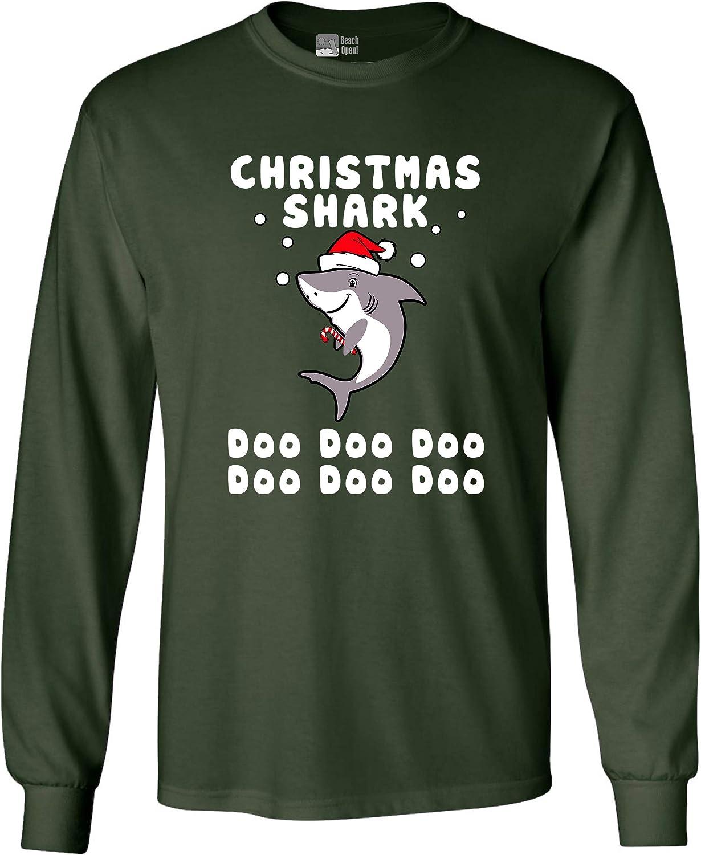 Long Sleeve Adult T-Shirt Christmas Shark Doo Doo Doo Funny DT