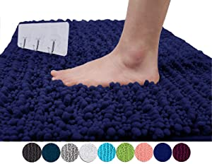 Yimobra Original Luxury Shaggy Bath Mat Large Size 31.5 X 19.8 Inch Super Absorbent Water,Non-Slip,Machine-Washable,Soft and Cozy,Thick Modern for Bathroom,Bedroom,Navy Blue (Presented 3 Pack Hooks)