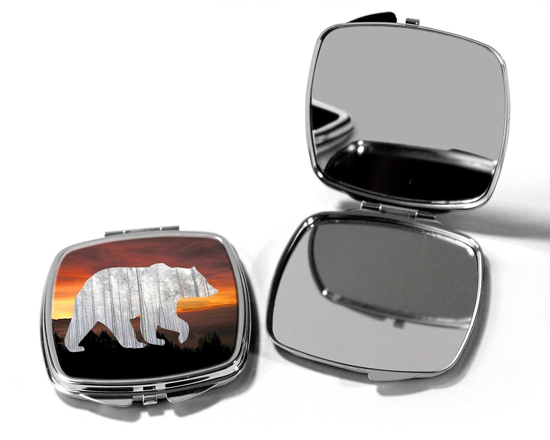 Sunset Bear Compact Pocket Make Up Mirror SilverKangaroo
