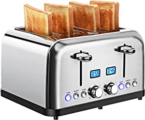 Toaster 4 Slice, Stainless Steel Toaster with LCD Digital Timer, Dual Control, 6 Shade Settings, 1.5 Inch Extra Wide Slot, Bagel/Defrost/Reheat/Cancel, Silver