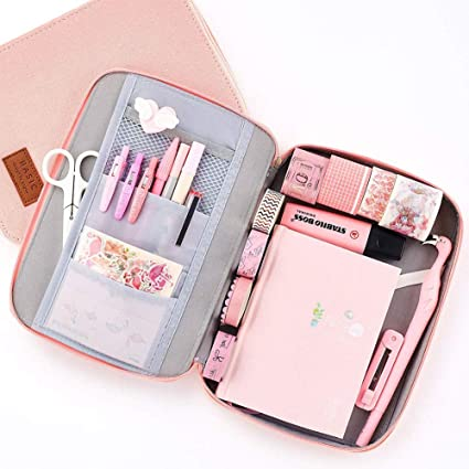 Shager - 1 estuche para lápices, color rosa, gran capacidad, bolsillo para papel de cartas, tres compartimentos, 20 x 11 cm, color rosa 6.5 * 9 * 1.2 inches: Amazon.es: Oficina y papelería