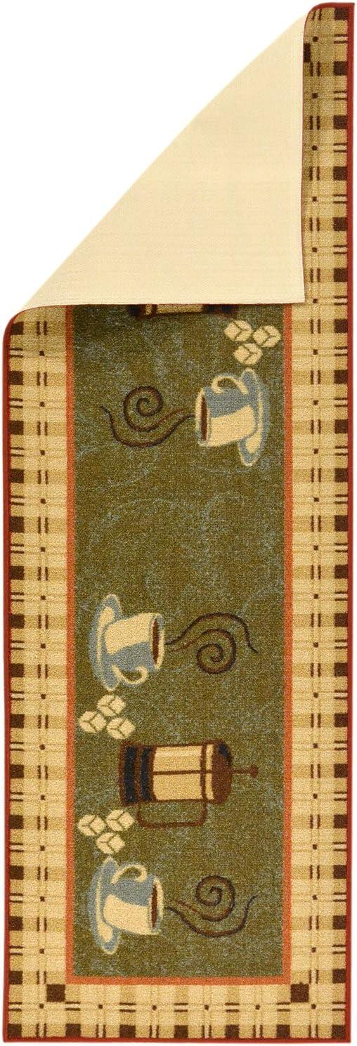 Beige Non-Slip Runner Rug Ottomanson Siesta Collection Kitchen Wine Design 20 x 59