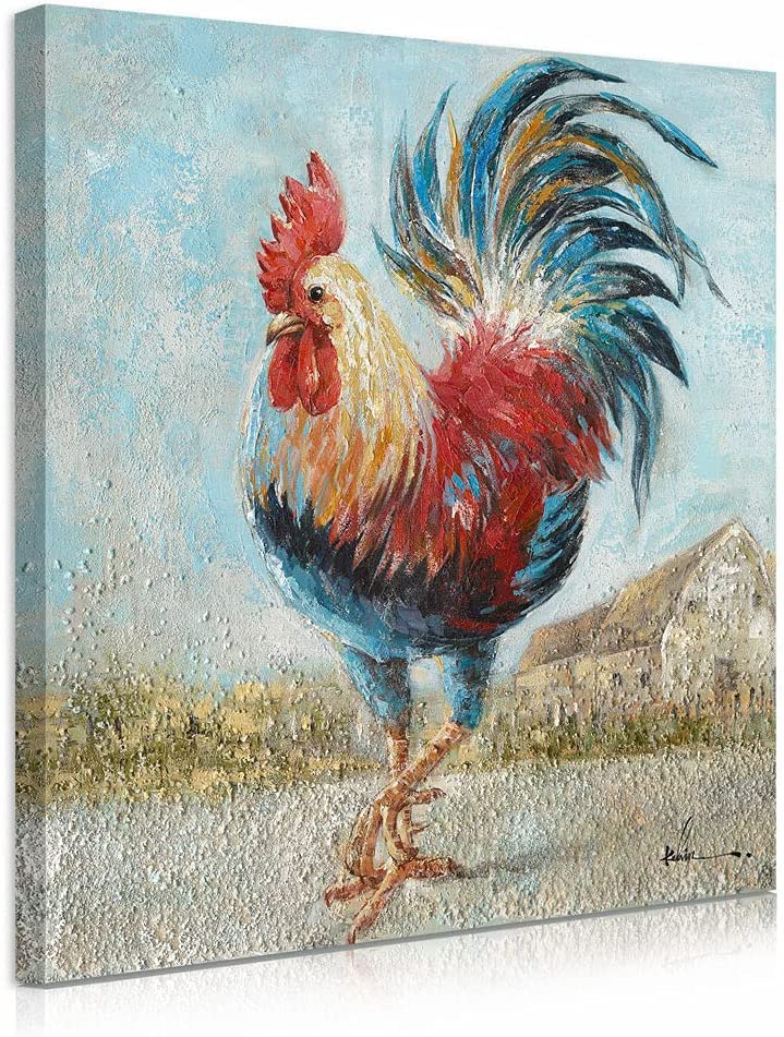 Rooster Decor for Kitchen Wall Art & Sandy Farmhouse Wall Decor Rooster Wall Art & Vintage Farm Picture Colorful Plumage Rooster Print Rooster Picture Canvas Print for Dining Room Restaurant 12