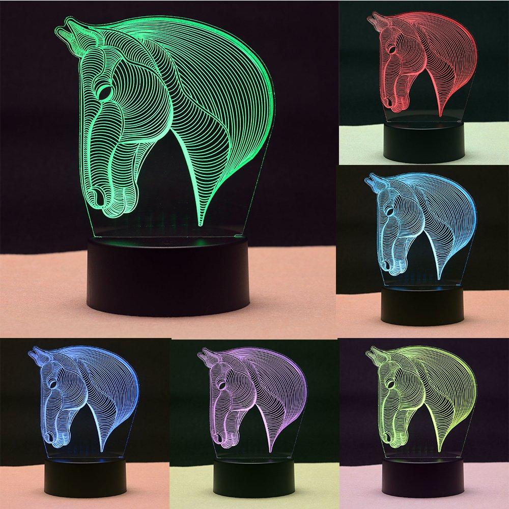 TTqp 3D LED Desk Table Horse Head Night Light Lamp 7 Color Touch Lamp Kiddie Kids Children Family Home Office Childrenroom Theme Decoration
